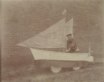 "Ships Ahoy! - Odd Photograph Of A Sailor In A Large Bicycle Sailboat 6 1/2"" x 5 3/4"" - Free Shipping"
