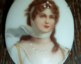 Very Beautiful Queen Louise of Prussia Hand Painted Porcelain Portrait Miniature Brooch - Free Shipping