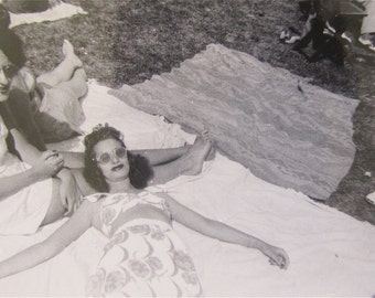 A Day In The Park - 1950's Bathing Beauty Working On A Tan Snapshot Photo - Free Shipping