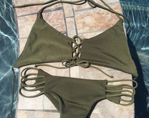 Olive Green Lace-Up Corset Top and Strappy Cheeky Bikini Bottoms Set