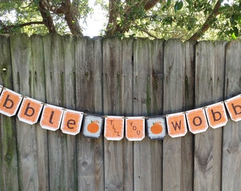 Thanksgiving GOBBLE banner, Burlap Thanksgiving banner, Thanksgiving holiday decor, holiday banner, Thanksgiving decoration banner