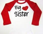 Big Sister Shirts Red Glitter Heart Raglan Shirt Big sister to be Baby Toddler Youth Shirt