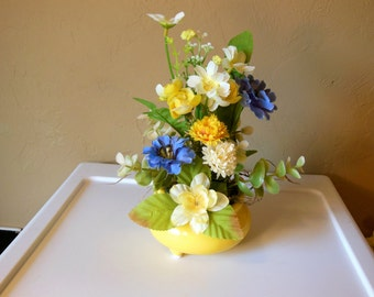 Mini Silk Flower Arrangement-Yellow-Periwinkle-Eucalyptus-Ceramic Vase -Thinking of You-Get Well- Congratulations-Birthday