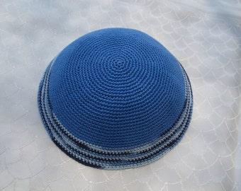 Light Blue Kippah. Handmade Crochet Kippah. Hand knitting Yarmulke. Light Blue Yarn of Cotton with Delicate design. Everyday use or Shabbat