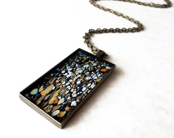 Rectangular antique bronze necklace / Ocean inspired jewelry / Mermaid resin jewelry / Pebbles necklace / Beach finds / FREE SHIPPING