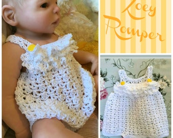 Zoey Romper Crochet PDF Pattern Size 0/3, 6/9, 12 and 24 Months