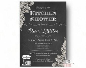 Kitchen Shower Invitation (Printable) Chalkboard Bridal Shower Invitation - Lace Bridal Shower Invitations - Black Kitchen Shower Invites