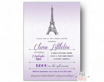 paris bridal shower invitation printable parisian by pegsprints, Bridal shower invitations