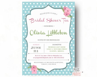 Shabby Chic Tea Party Invitation (Printable) Bridal Shower Tea Party