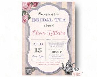 Tea Bridal Shower Invitation - Bridal Tea Party Invitation (Printable) Tea Party Bridal Shower Invitation - Purple Bridal Shower Invitation