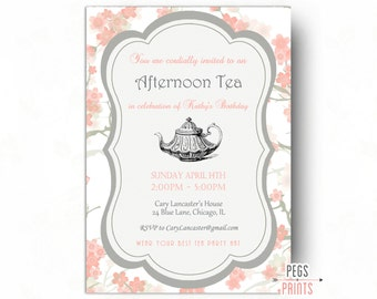 Birthday Tea Party Invitation - Tea Party Birthday Invitation Printable - Tea Birthday Party - Floral Afternoon Tea Invitation - Lilac Pink