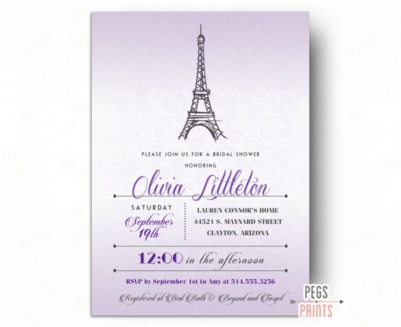 Purple paris bridal shower invitation parisian bridal shower il570xn filmwisefo