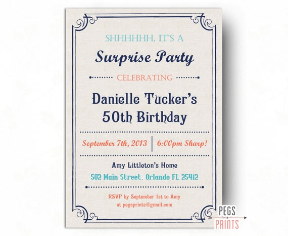 Adultes de surprise anniversaire invitation jalon - Invitation anniversaire surprise ...