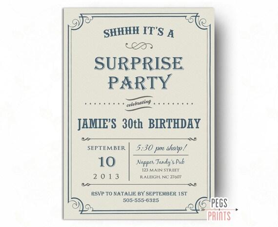 Adult Surprise Birthday Party Invites Printable