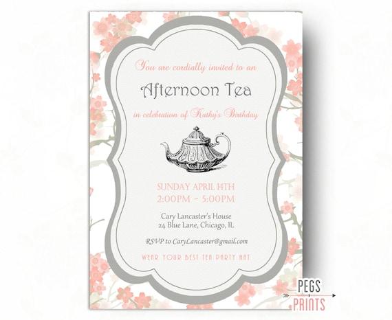 Birthday Tea Party Invitation Tea Party Birthday Invitation – Afternoon Tea Party Invitation