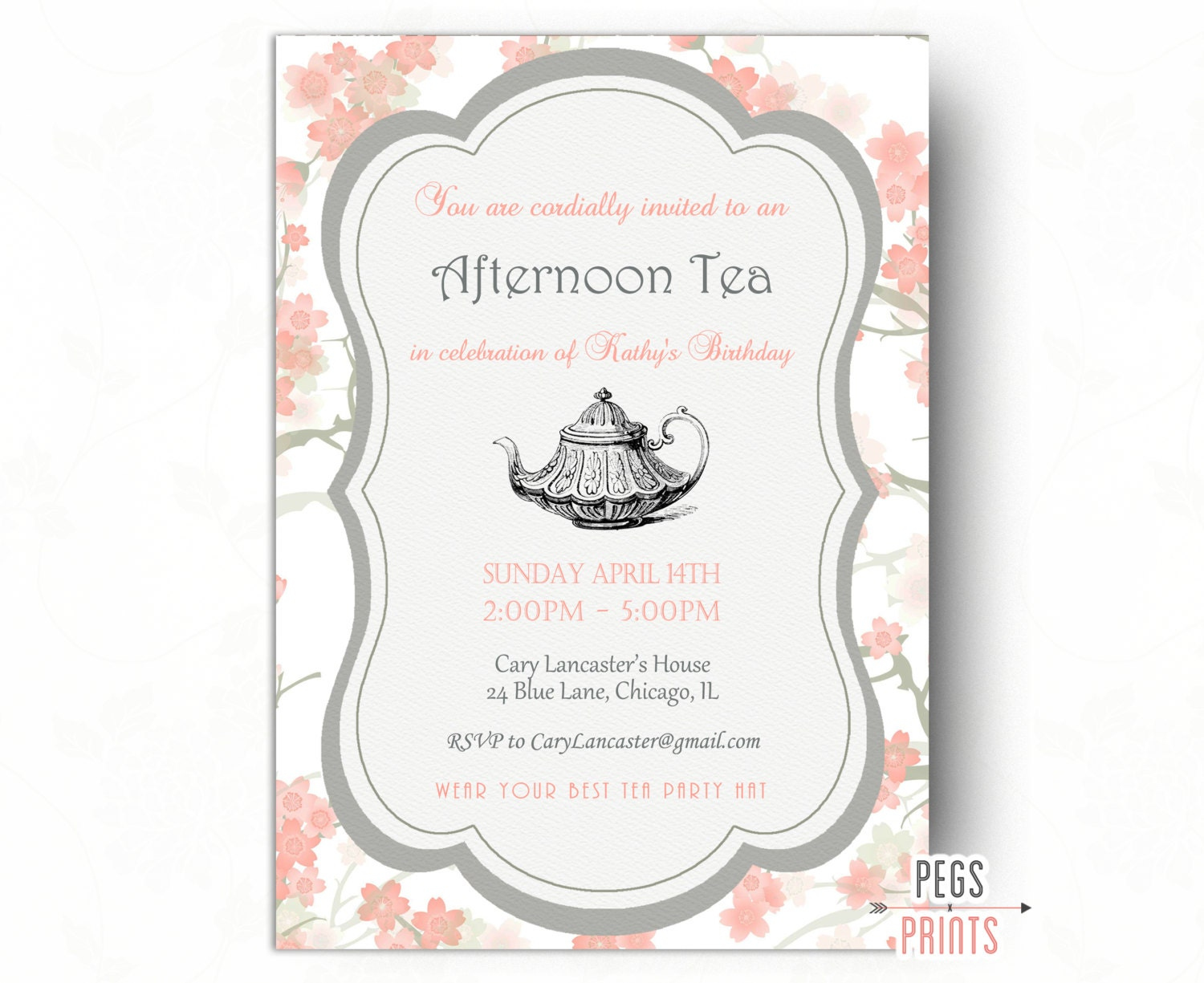 Birthday Tea Party Invitation Tea Party Birthday Invitation – Tea Birthday Party Invitations