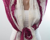Lace Scarf Shawl Magenta Wedding Shawl Scarf Wrap Cowl Bridal Accessory Trending Item Bridesmaids Gift Women Fashion Accessory Gift For Her
