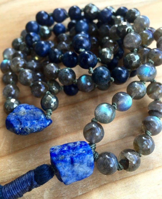 Lapis Mala Beads, Labradorite, Dumortierite, Pyrite, Stress Relief Third Eye Chakra, Tassel Necklace, 108 Beads Yoga Jewelry, Intuition