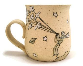 Little Prince mug Cute ceramic cup Pottery Little prince teacup Unique pottery gift Dad mug Christmas gift Le Petit Prince Маленький принц