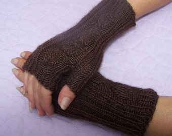 Handknit fingerless gloves, Handknit wrist warmers, Brown fingerless gloves, Brown wrist warmers, Brown mittens, Leaf pattern gloves