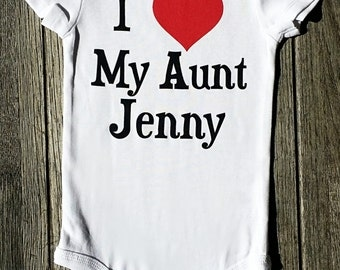 I Love My Aunt Baby Outfit, Auntie Shirt, I Love My Aunt Shirt, Gift For Niece, Gift For Nephew, Gift From Aunt, Personalized Baby, Liv & Co