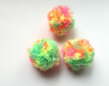 Super Neon Puffs Ball Cat Toys Set of 3 Pom Poms Optional Catnip & Bell