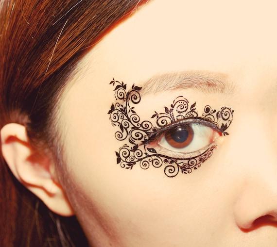 Temporary tattoo eye makeup applique eyeshadow flower mask for Eye temporary tattoo makeup