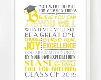 Inspirational Graduation Print | Color CUSTOMIZED | Printable | Class of 2017