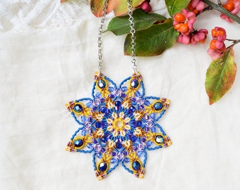 Mandala necklace, beaded star, lotus flower, micro-macrame jewelry, spiritual, bohemian, blue yellow purple, unique, statement necklace