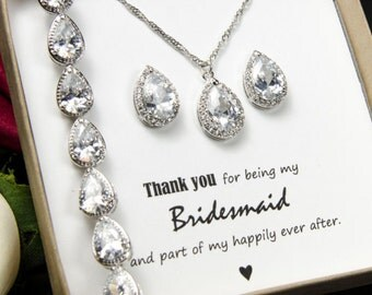 Personalized Bridesmaid Gift, Crystal Wedding Jewelry Gift Set, Bridal Studs and Bracelet Set , Bridesmaid Earrings Bracelet Necklace Set,