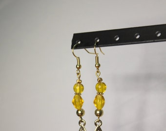 Gold Star and Yellow Beaded Earrings