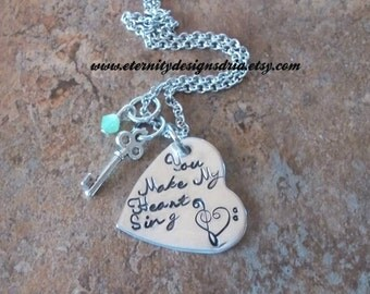 Personalized You Make My Heart Sing Necklace, Heart and Key Necklace