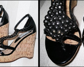 Vintage STEVE MADDEN Black Leather Studded Wedge Heels Strappy Sandal Heels Platforms Cork Wedge Sandal Size 6 6M