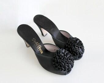 1950s Heels | Peep Toe Heels | Black Heels | Daniel Green | Boudoir Heels | Size 5.5