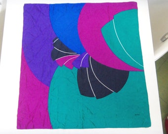 Vintage SEVINI Square Silk Scarf,Vibrant Colors,West Germany,Hand Rolled Edges,Early 80s