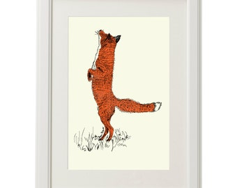 Original Art Print: Silk Screen-Printed Red Fox