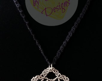 Crocheted Necklace with Beaded Flower Pendant - Black/Pewter