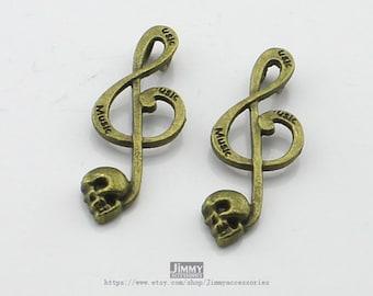 Fashion Retro Antique Bronze Skull Music Charms Pendant  5pcs 17X40mm