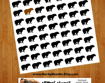 Bear Stickers, 56, Bear Sticker Set, Bear Envelope Seals, Bear Envelope Stickers, Bear, black bear, brown bear, Party, planner stickers