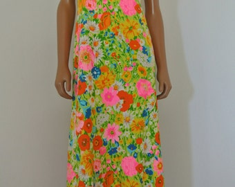 1960s PsyCheDelic Raindow Neon Floral Hippie Dress by Jay Anderson POSH M