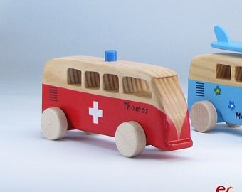 Wooden Ambulance, Personalized Wooden Toy Car, Red Handmade Gift, VW Kombi