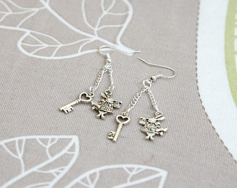 Alice in wonderland white rabbit key earrings
