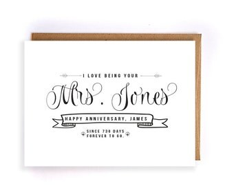 Custom name cotton anniversary cards for her, 2nd anniversary card, cute handmade greeting cards for husband,anniversary gifts for him GC36