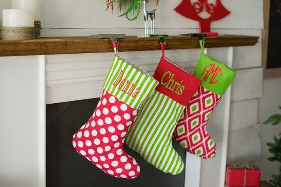 Personalized Christmas Stocking ~ Chevron Christmas Stocking ~ Burlap Christmas Stocking