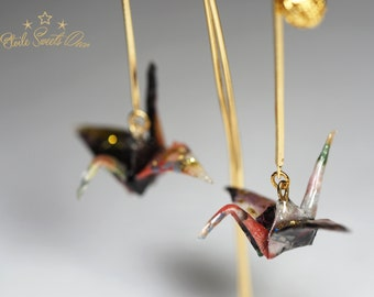 Earrings / Cranes / Origami (Japanese paper)
