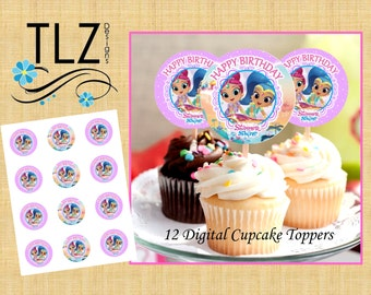 Shimmer & Shine Cupcake Toppers -  Instant Download Printable Digital Files