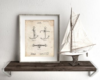 Boat Anchor Patent Poster, Anchor Wall Decor, Vintage Nautical Decor, Sailing Gifts, PP0745