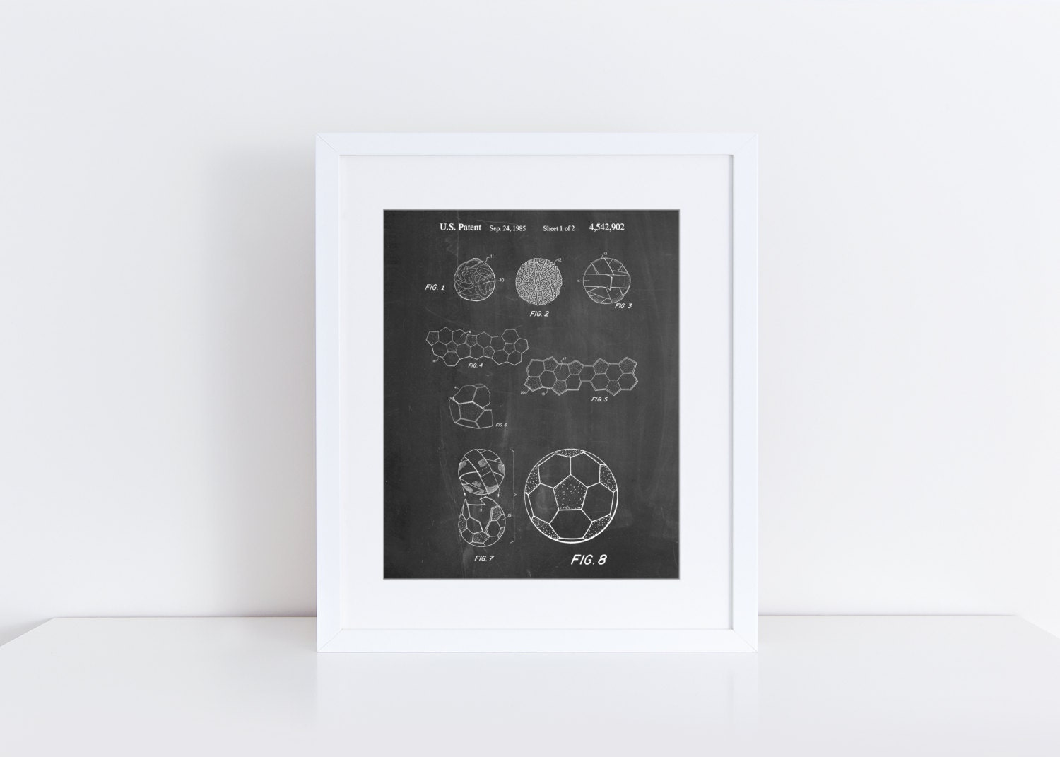 Soccer ball 1985 patent poster soccer gifts soccer room for Room decor gifts