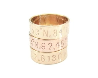 Coordinates Ring, Custom Latitude Longitude Ring, Personalized Stamped Ring, Custom Coordinate Jewelry, Stamped Ring, Personalized Ring