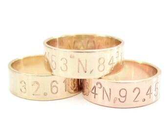 Personalized Coordinate Wedding Band Or Anniversary Ring, Custom Coordinates Ring, Gold Coordinate Jewelry, Latitude and Longitude Gold Ring